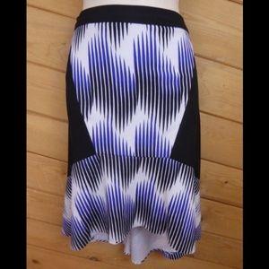 Rebecca Minkoff Blue Purple Stripe Pencil Skirt L